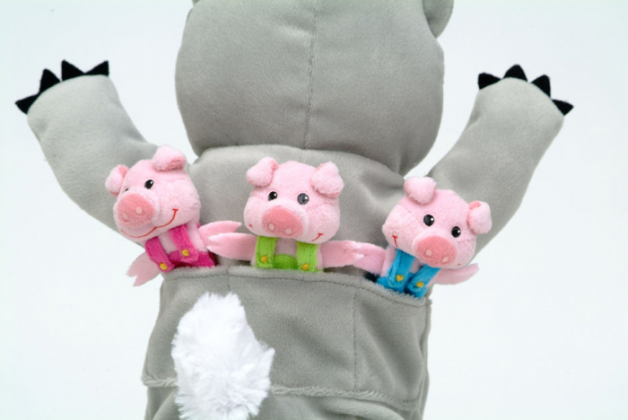 Set Papusa si marionete Cei 3 purcelusi / Big Bad Wolf and the Three Little Pigs - Fiesta Crafts 3