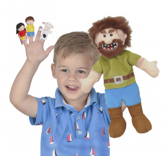 Set Papusa si marionete Jack si vrejul de fasole / Jack and the Beanstalk Hand - Fiesta Crafts 0