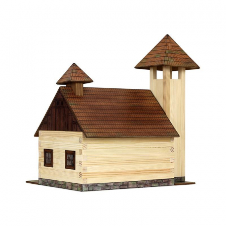 Set constructie arhitectura Statie de pompieri, 128 piese din lemn, Walachia1