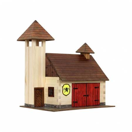 Set constructie arhitectura Statie de pompieri, 128 piese din lemn, Walachia0