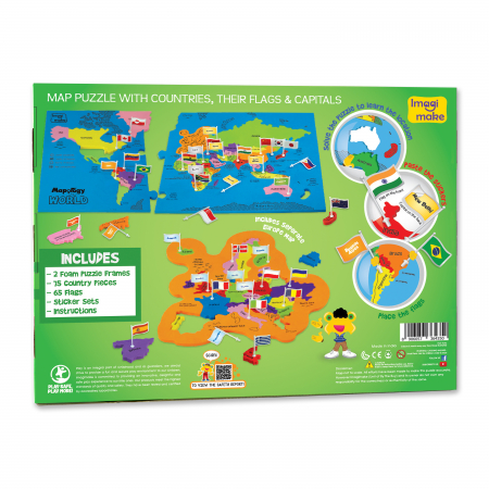 Cadou 5-7 ANI - Puzzle Harta lumii cu steaguri si capitale + Set Cuburi Rubik Fructe [5]