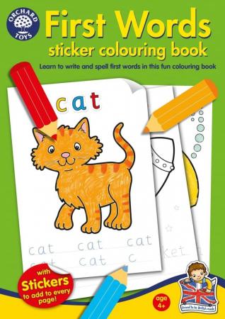 Carte de colorat cu abtibilduri Primele cuvinte / FIRST WORDS0