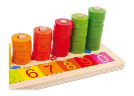 """Joc educativ Numaratoare cu inele colorate / Calculation table """"Wooden Rings"""" [3]"""