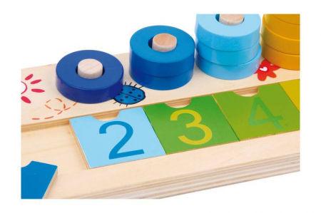 "Joc educativ Numaratoare cu inele colorate / Calculation table ""Wooden Rings"" - Legler2"