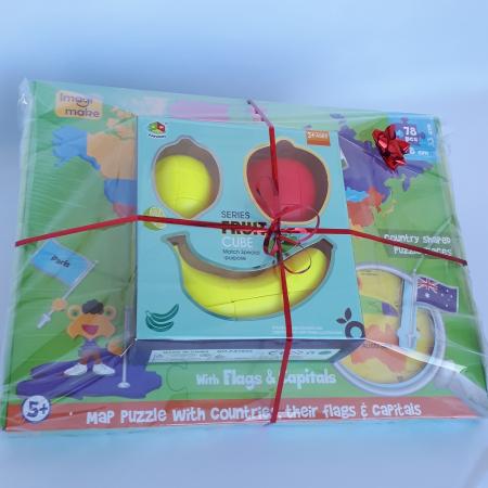 Cadou 5-7 ANI - Puzzle Harta lumii cu steaguri si capitale + Set Cuburi Rubik Fructe [1]