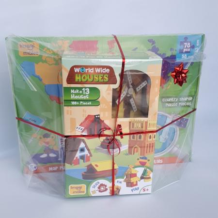Cadou 8-14 ANI - Puzzle Harta lumii cu steaguri si capitale + Puzzle 3D Case1