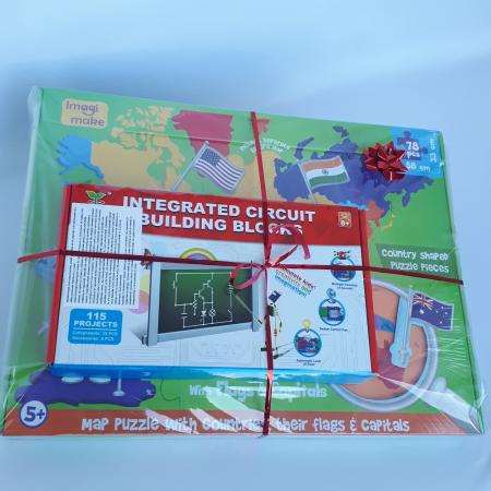 Cadou 8-14 ANI - Puzzle Harta lumii cu steaguri si capitale + Constructie Circuite Integrate [1]