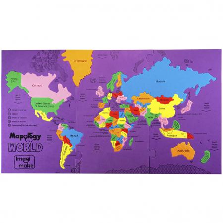 Puzzle educativ din spuma EVA - Harta Lumii - Imagimake3
