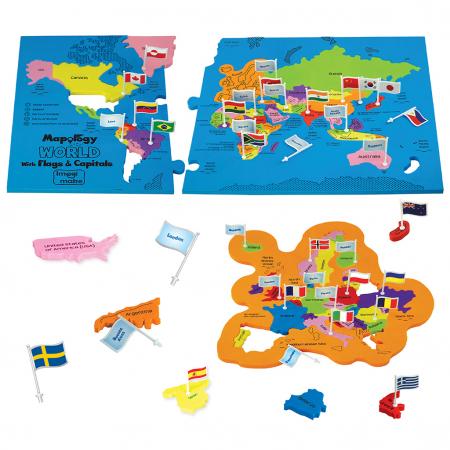 Puzzle educativ din spuma EVA - Harta lumii - steaguri si capitale1