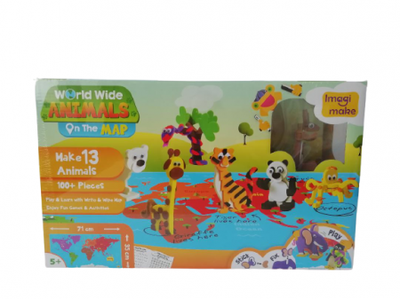 Puzzle educativ Harta lumii - Animale - din spuma Eva