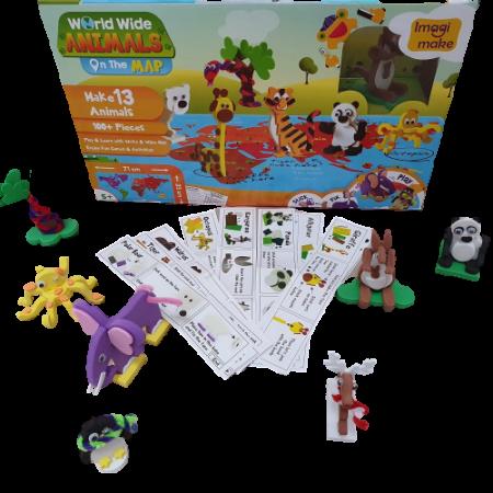 Puzzle educativ Harta lumii - Animale - din spuma Eva0
