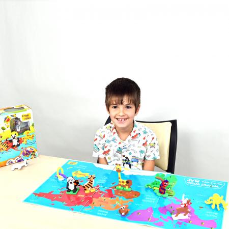 Puzzle educativ Harta lumii - Animale - din spuma Eva7