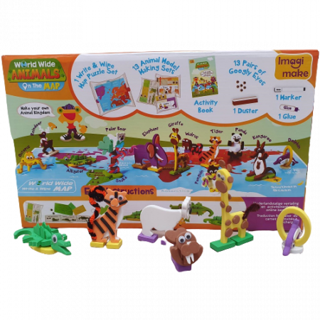 Puzzle educativ Harta lumii - Animale - din spuma Eva4