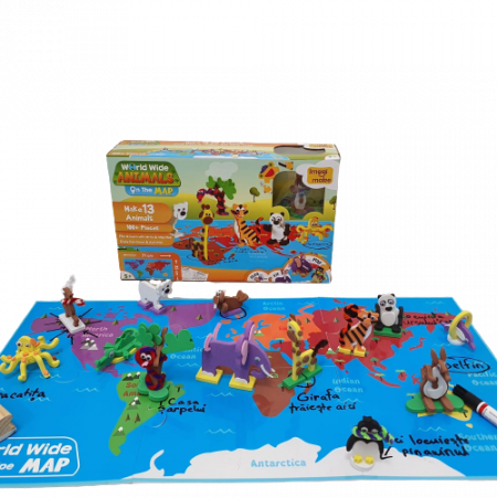 Puzzle educativ Harta lumii - Animale - din spuma Eva1