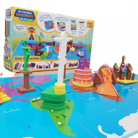 Puzzle educativ Harta lumii - Monumente - din spuma Eva3