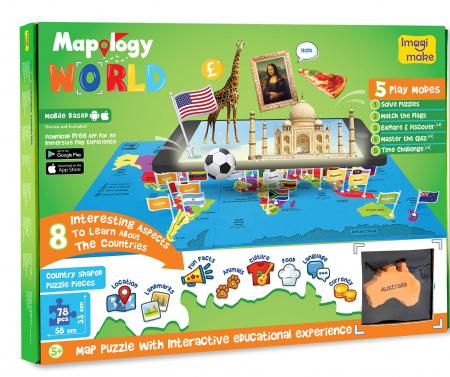 Puzzle Realitate Augmentata cu activitati in Limba Engleza -  Harta Lumii cu Steaguri si Capitale [0]