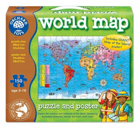 Puzzle si poster Harta lumii (limba engleza 150 piese) WORLD MAP PUZZLE & POSTER0