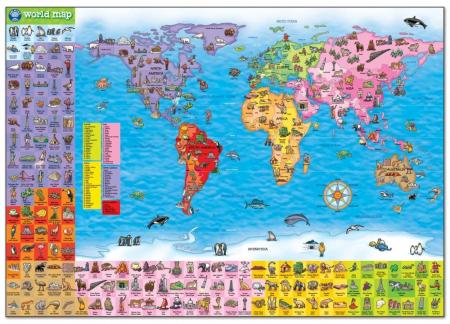 Puzzle si poster Harta lumii (limba engleza 150 piese) WORLD MAP PUZZLE & POSTER2