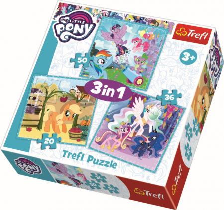 Puzzle Trefl 3in1 Ponei fericiti [0]
