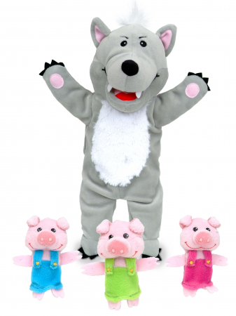 Set Papusa si marionete Cei 3 purcelusi / Big Bad Wolf and the Three Little Pigs - Fiesta Crafts4