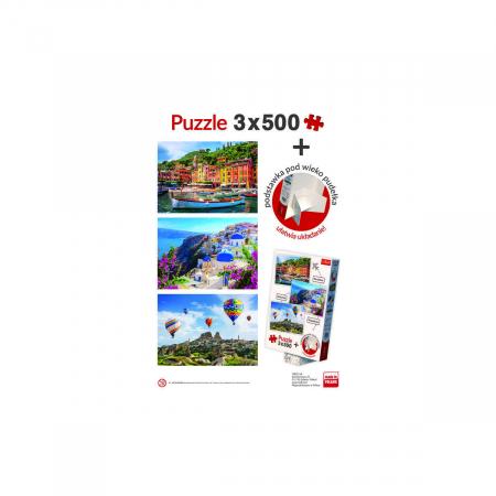 Set puzzle Trefl 3 x 500 Portofino Santorini Cappadocia [4]
