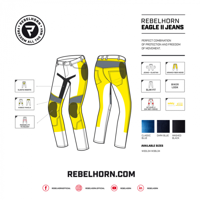 Blugi moto slim fit Rebelhorn Eagle II 2