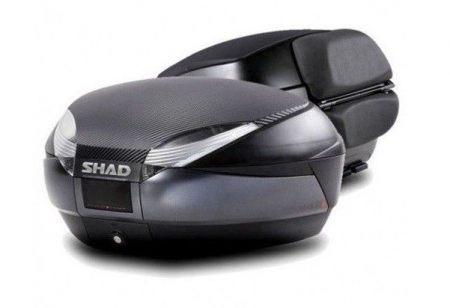 Top case SHAD SH48 Gri inchis with backrest, carbon cover and PREMIUN SMART lock [0]