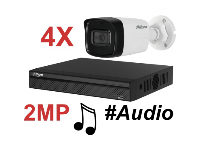 Kit DAHUA supraveghere HD exterior Pro ve04FHD_A 2Megapixeli, audio-big