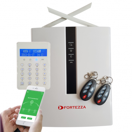 Sistem alarma hybrid (wireless+cablat) Fortezza Pro GSM/IP/TEL COM4832, 4 partitii
