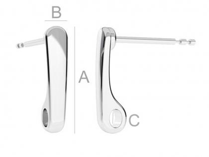 Baza cercei cu tija argint 925 L 14 mm [0]