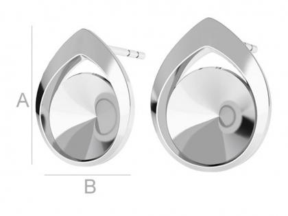 Baza cercei argint 925 pentru cristal Swarovski 1122 11 mm [0]