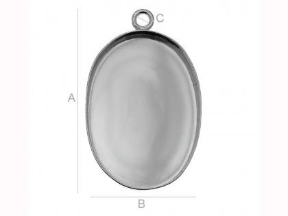 Baza spacer tip caseta argint 925 forma ovala L 26 mm 0
