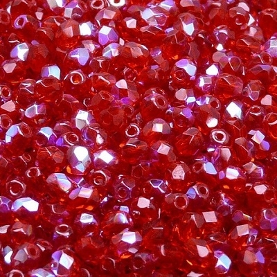 Cristale cehesti  firepolish 4 mm Red AB 0