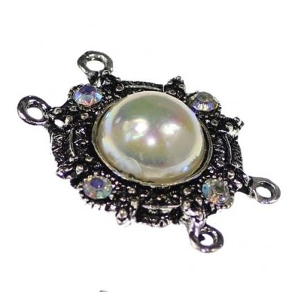 Link multisir cu perla acrilica si Rhinestone 0