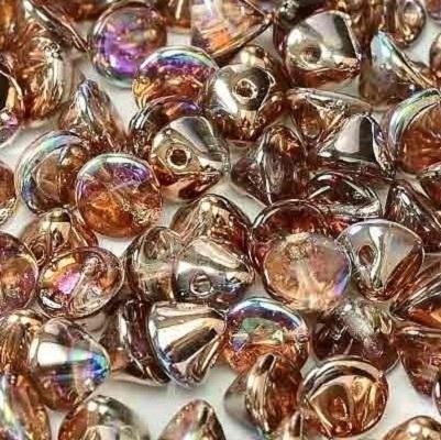 Margele cehesti Button 4 mm Crystal Copper Rainbow 0