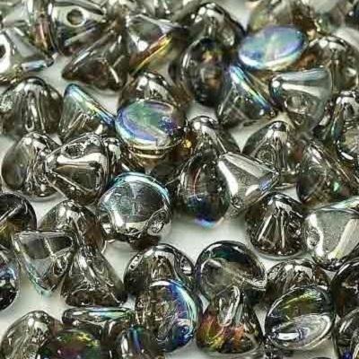 Margele cehesti Button 4 mm Crystal Graphite Rainbow 0