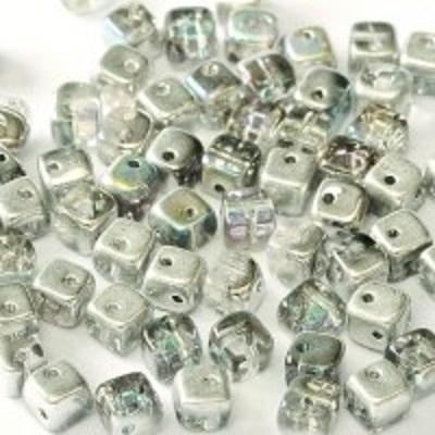 Margele cehesti Crisscross cube Crystal Silver Rainbow 2hole 0