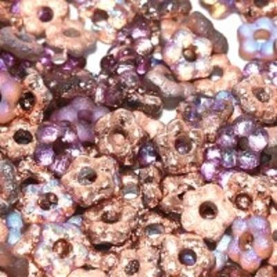 Margele cehesti  Floare nu ma uita 5 mm Crystal etched copper rainbow [0]