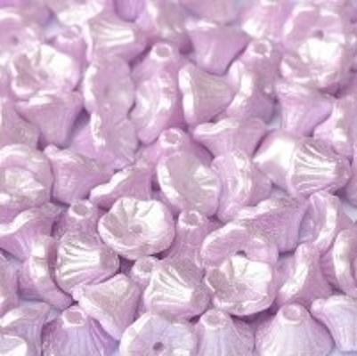 Margele cehesti Floare clopotel 7x5 mm Alabaster pastel lt.  0