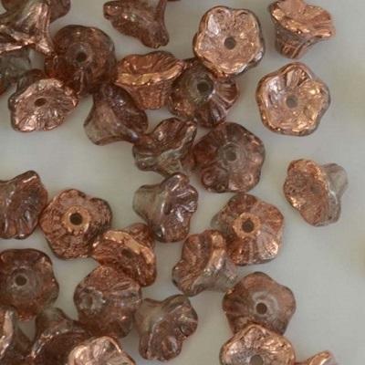 Margele cehesti Floare clopotel 7x5 mm Crystal capri gold 0