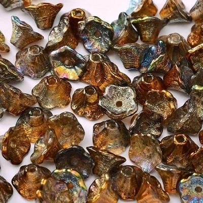 Margele cehesti Floare clopotel 7x5 mm Crystal margintic copper [0]