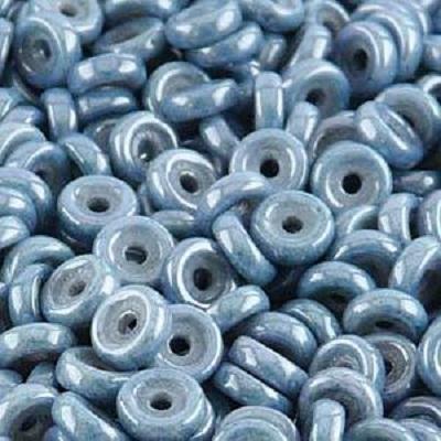Margele cehesti Wheel 6 mm Chalk white baby blue luster 0