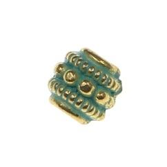 Margele metalice auriu cu verde 0