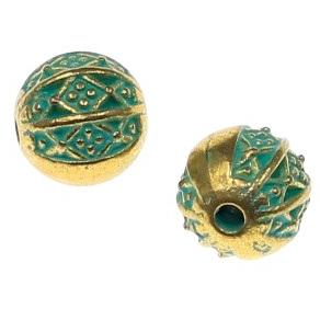 Margele metalice auriu si verde 8mm 0