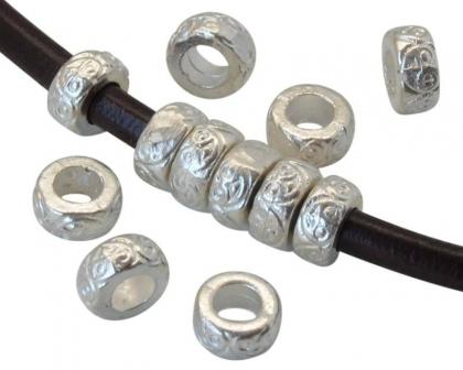 Margele rondele zamak argintii 7,5x3,5 mm 0