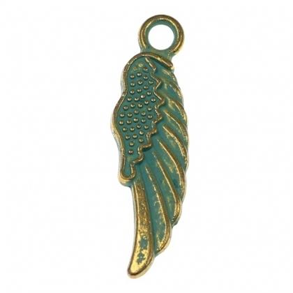 Pandantiv aripa  auriu verde 0
