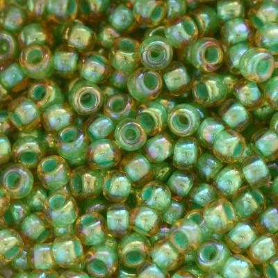 Margele Toho Round 11/0 inside color rainbow lt jonquil/mint lined TR 11 1830 [0]