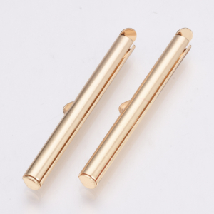 Capat cilindric pentru bratari tip panglica din margele Miyuki sau Toho dimensiunea 6x40x4 mm placat auriu1
