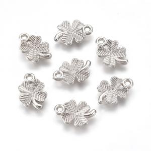 Charm frunza trifoi plastic argintiu1