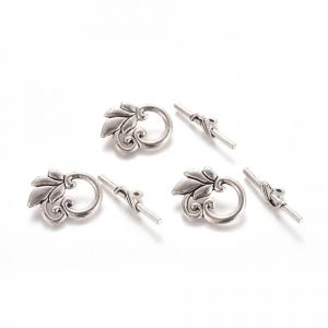 Inchizatoare togle stil tibetan cu frunza argintiu antichizat0